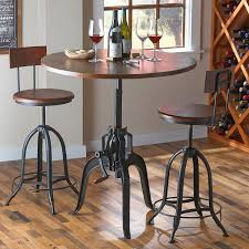 Industrial Pub Table Sets Industrial Crank Pub Table And Two Stools Wine Enthusiast