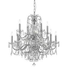 crystorama lighting group imperial wrought iron crystal 12 light chandelier with swarovski spectra crystal