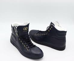 nib salvatore ferragamo mens stephen 2 blue leather high top sneaker 13 46 ee