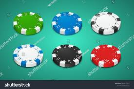 Light Blue Poker Chips Poker Chips Different Color White Red Stock Vector Royalty