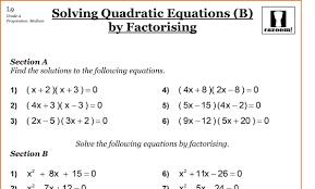 math worksheets 9 grade worksheets solving quadratic equations by factorising grade