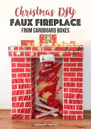how to build a fake fireplace from cardboard boxes mypoppet com au