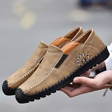 men handmade leather loafers plus big size casual shoes moccasins