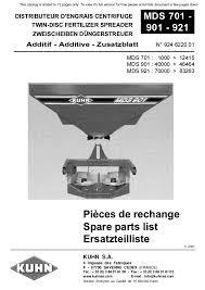 Kuhn Twin Disc Fertilizer Spreader Mds701 901 921 Spare