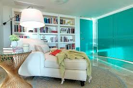 Chic Turquoise Modern Living Room