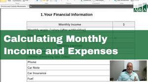 Calculating Monthly Income And Expenses