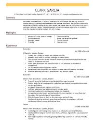 Bartender Resume Example Template Cool Bartender CV Template CV Samples Examples