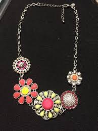 lia sophia silver chain necklace pink yellow flower pendant rhinestone pearl