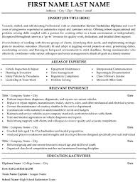 Automotive Technician Resume Badak Sample Format 19962