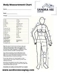 Body Measurement Chart Sandra Vee Cosplay
