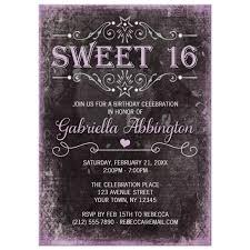 Black And Purple Invitations Sweet 16 Invitations Black Grunge Purple