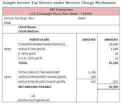Tax Invoice Examples Sample Service Tax Invoice Under Reverse Charge Mechanism