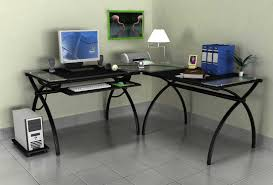 black glass top computer desk