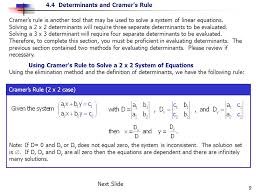 cramer s rule is another tool that may be used to solve a system of linear equations