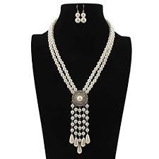 KYEEY Jewelry Set <b>Fashion Women</b> Faux <b>Pearl Tassel</b> Pendant ...