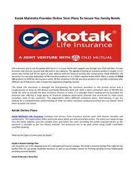 Kotak Life Insurance Introduces A New Kotak Coverage Plan By Anumeha