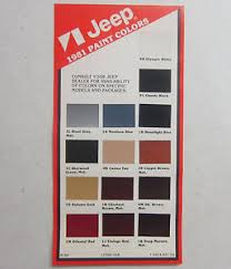 Cherokee Color Chart Details About 1981 Jeep Wagoneer Cherokee Cj Cj5 Cj7 J10 J20 Nos Color Chart Brochure