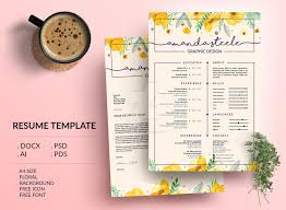 Floral Resume Template Cv Template Letterhead By Showy68template