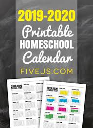 Printable School Year Calendars Free Printable School Calendar For 2019 2020 Five Js