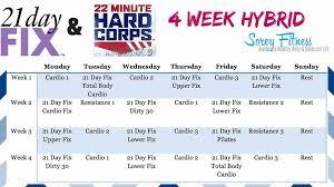 beachbody hybrid calendar 21 day fix 22 minute hard corps hybrid workout schedule