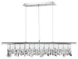 nadia 13 light clear crystal linear pendant chrome