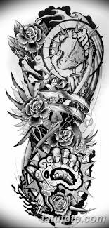 черно белый эскиз тату рукав на руку 11032019 047 Tattoo Sketch