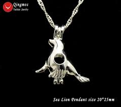 wish pearl 20 25mm sea lion cage pendant chokers women necklace