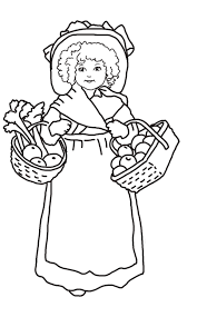 Thanksgiving Pilgrim Girl Coloring Pages With Printable Coloring