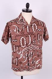 """ALFRED SHAHEEN """"ANGEL FISH"""" COTTON 50s   40s-60s Tapa, Petroglyphs ... & ALFRED SHAHEEN """"ANGEL FISH"""" COTTON 50s Adamdwight.com"""