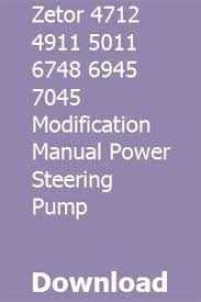 Zetor 4712 4911 5011 6748 6945 7045 Modification Manual