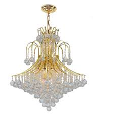 empire collection 15 light polished gold chandelier with clear crystal shade