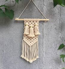macrame wall art handmade cotton wall hanging tapestry with lace fabrics bohemian natural cotton rope and made rope weaving process tapestry tapestry wall