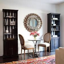 bookcase with black and white striped backs