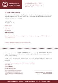 White And Maroon Formal Travel Permission Slip Letter Templates By