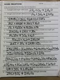 balancing chemical word equations worksheet answer key tessshlo