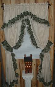 muslin curtains muslin tea dye curtain with red ruffle primitive country style curtains photo al