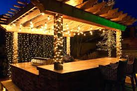 hanging lights in backyard