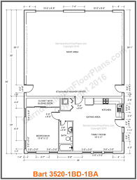35 foot wide barndominium floor plan 1 bedroom 1 bath bart