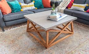 wood angled x base coffee table plans