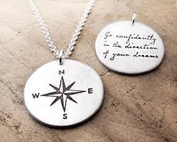 Compass Quotes Simple Compass And Thoreau Inspirational Quote Necklace Go Confidently In
