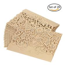 20pcs set wedding invitation card cover pearl paper laser cut hollow heart pattern invitation cards