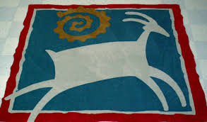 southwest goat to be inlaid in reception area rolls royce logo rug
