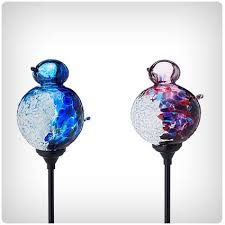 solar light garden stake bird globe