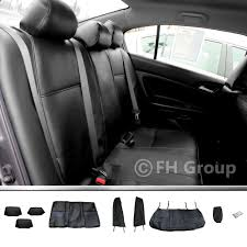 fh group 2003 2007 honda accord leather black custom fit seat covers rear set 0