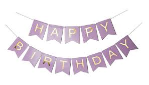 Sonder Co Happy Birthday Banner Purple And Gold Foil