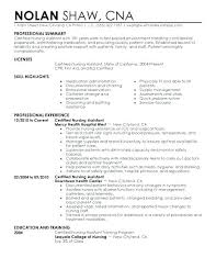 Sample Certified Nursing Assistant Resume Entry Level Cna Resume Examples Coachfederation