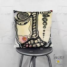 Unusual Home Decor Accessories Psychedelic faces art throw pillow Unique funky unusual home 63