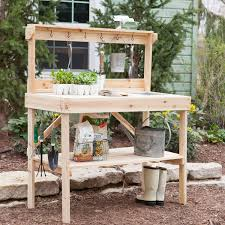 diy potting bench with tool hooks and storage for backyard garden house design ideas