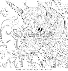 Adult Coloring Pagebook Cute Unicorn On Stock Vector Royalty Free