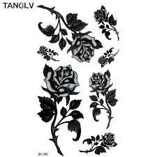 6779 руб Hd большое тату ручной рисунок черные белые розы цветы бабочка переводная